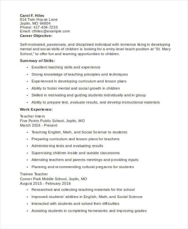 6+ Teaching Resume Templates - Free Sample, Example Format ...