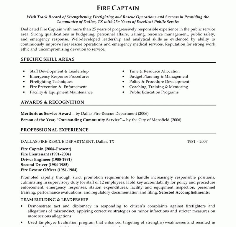 fire captain resume fire captain sample resume fire captain