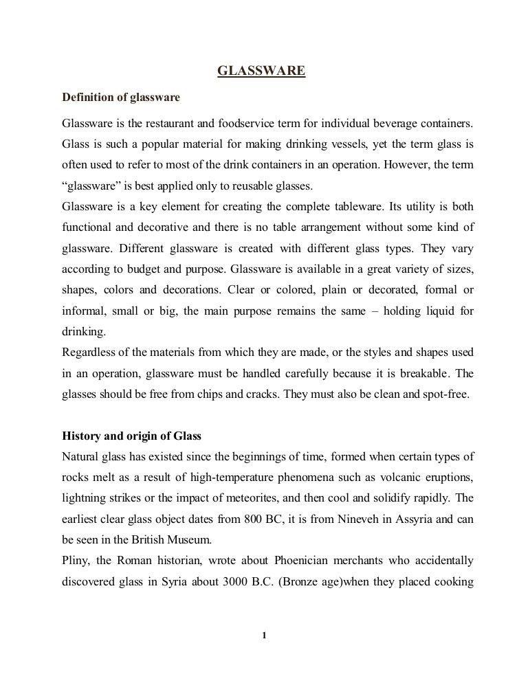 Types of glasswares