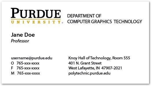 Business Cards and Name Badges - Purdue Polytechnic Institute
