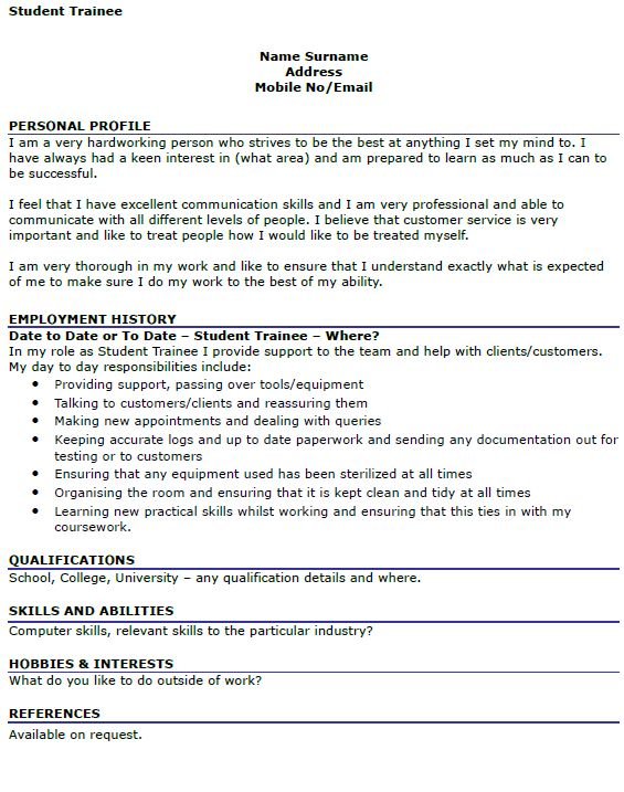 Student Trainee CV Example - icover.org.uk