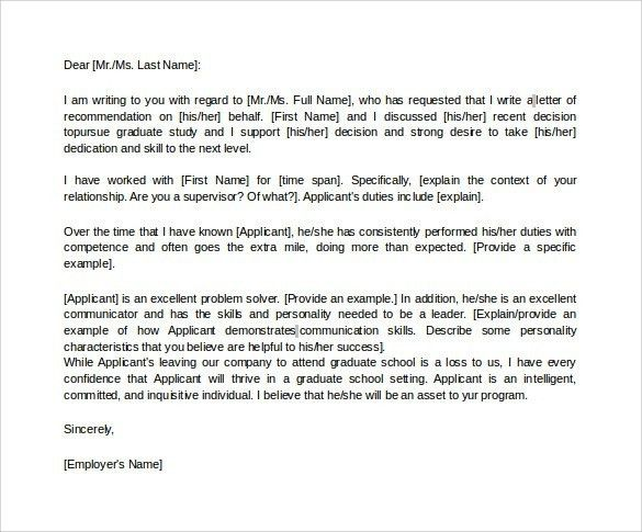 Graduate Recommendation Letter From Employer | The Letter Sample