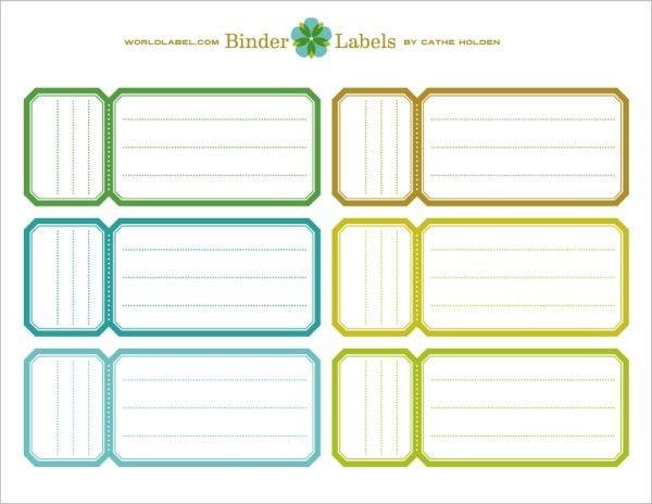 Binder Spine Template. Colored Multipurpose Microsoft Spine Label ...