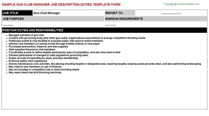 Gun Club Manager Job Description