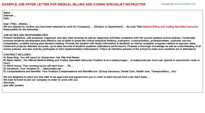 Medical Billing And Coding Specialist Instructor Offer Letter