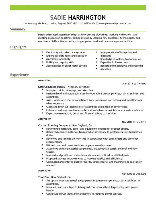 examples manufacturing job assembly line worker resume make resume - Sample Resume For Assembly Line Worker