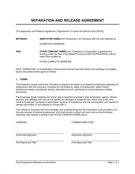 Post-Employment Information Release Agreement - Template & Sample ...