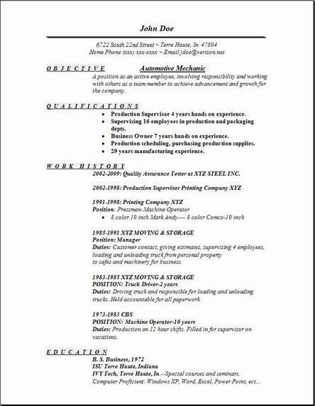 Auto Mechanic Resume Sample | jennywashere.com