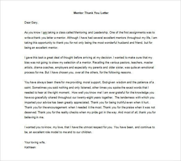 Thank You Letter To Mentor – 9+ Free Sample, Example Format ...