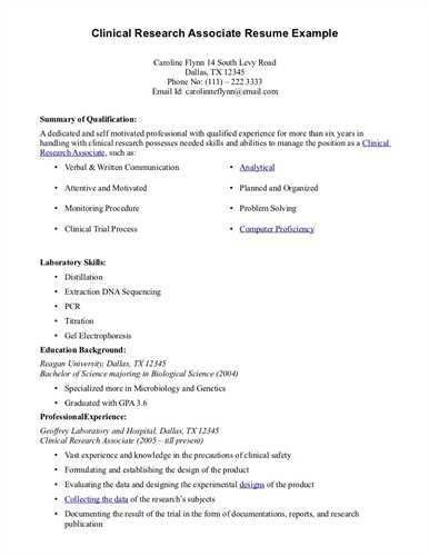 sample resume for clinical research associate