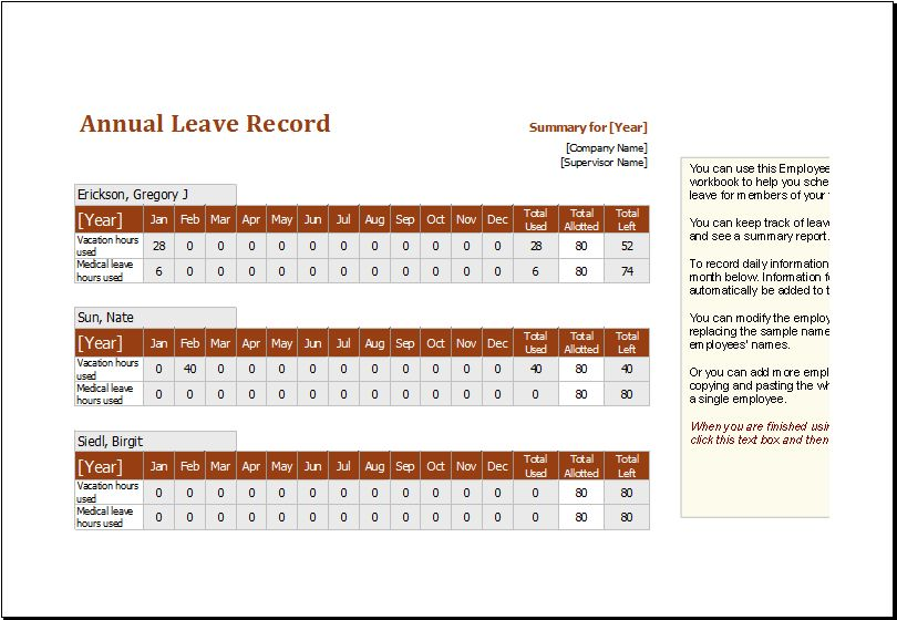 Employee Annual Leave Record Spreadsheet Editable MS Excel ...
