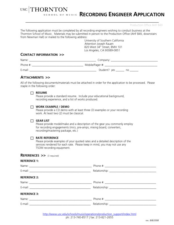 Best Template Sample for Sound Recording Engineer CV Application ...