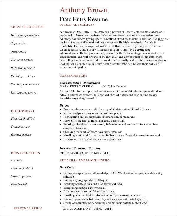 Data Entry Resume - 5+ Free Word, PDF Documents Download | Free ...
