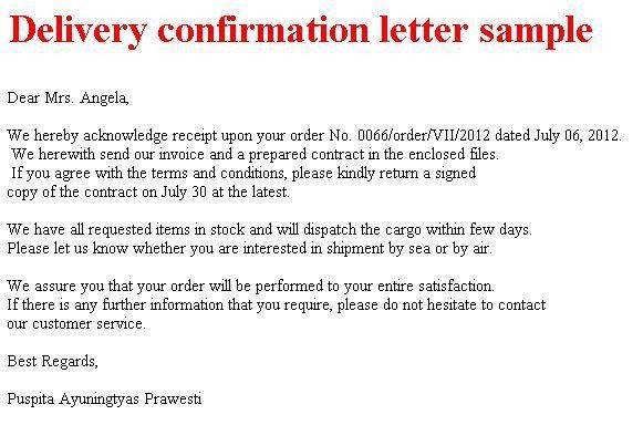Delivery confirmation letter samples : Selimtd