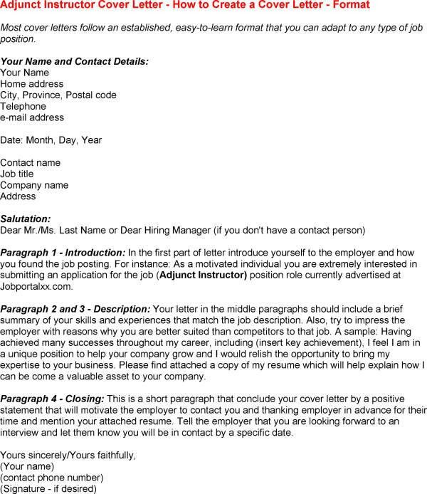 Adjunct Instructor Cover Letter