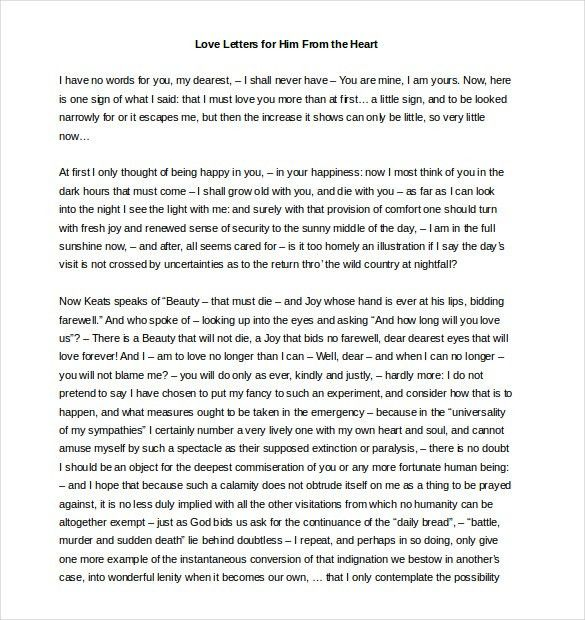 Love Letters For Him – 25+ Free Word, PDF Documents Download ...