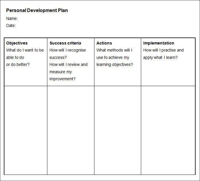 Personal Development Plan Template | ossaba.com