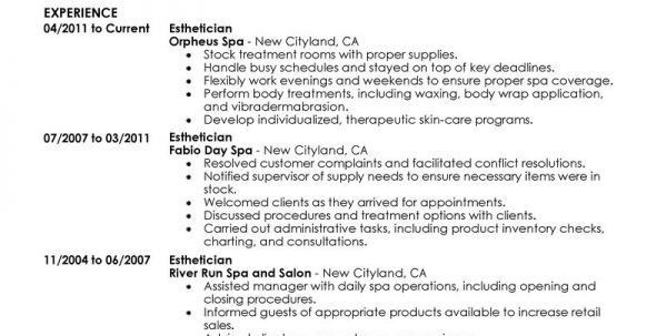 Esthetician Cover Letter Examples Salon Spa Fitness Resume ...