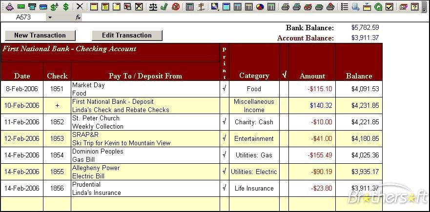 Download Free Checkbook for Excel, Checkbook for Excel 5.3 Download