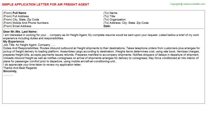 Cargo Agent Cover Letter