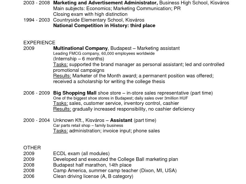 resume Resume Examples Marketing