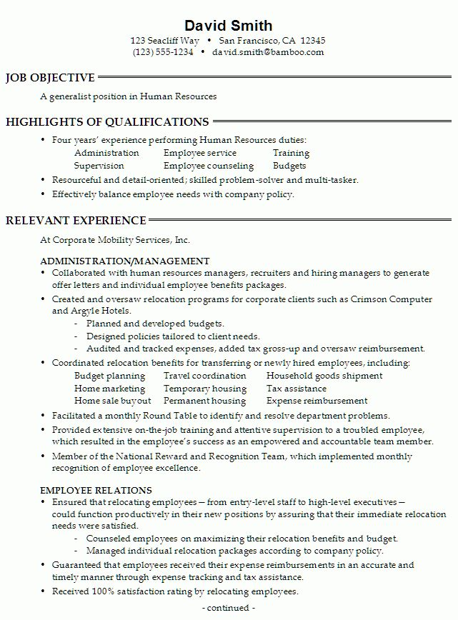 Hr Resume Objective - Resume Example