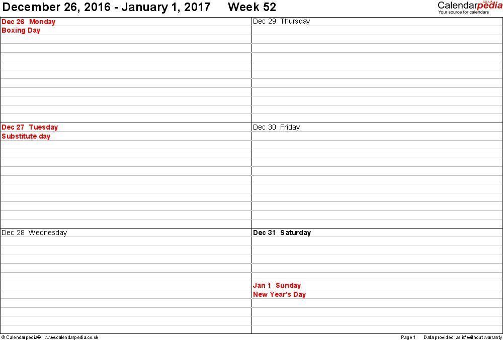 Weekly calendar 2017 UK - free printable templates for Word