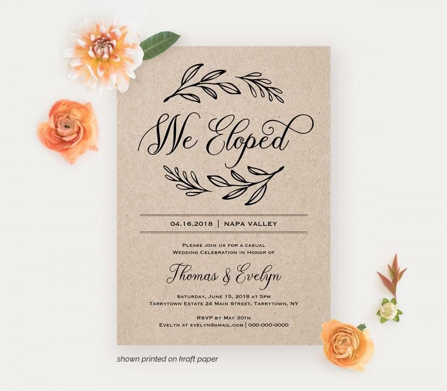 We Eloped Reception Invitation Template, Printable Elopement ...