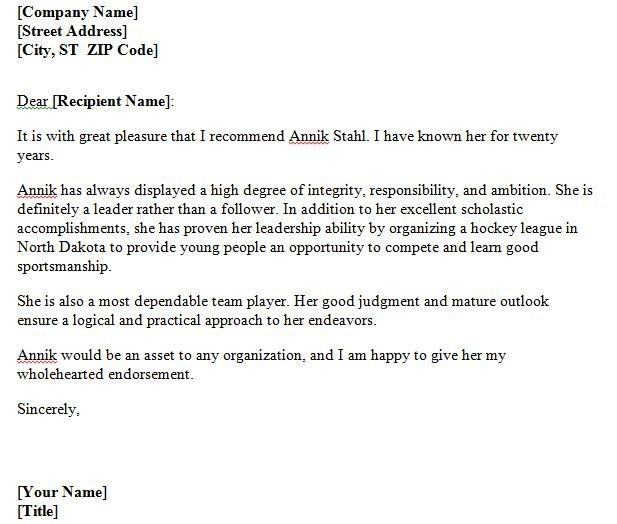 Personal Letter Of Character Reference Template Cover Letter ...