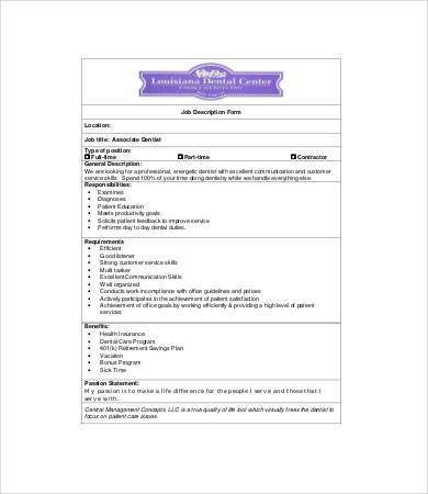 Dentist Job Description   8+ Free Word, Excel, PDF Format Download .