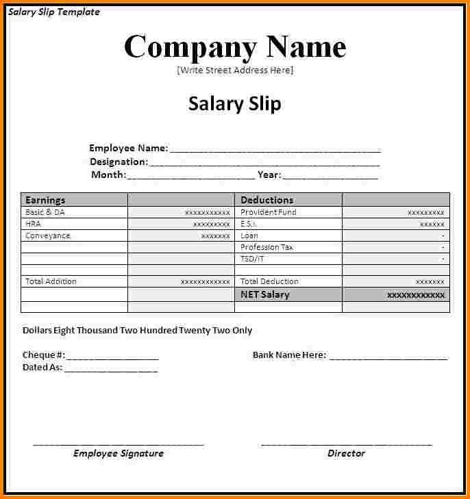 Payslip Template Singapore. salary slip format free word templates ...