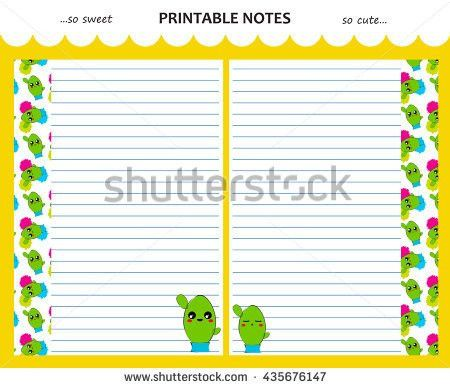 Vector Design Set Printable Paper Kawaii Stock Vector 428224483 ...