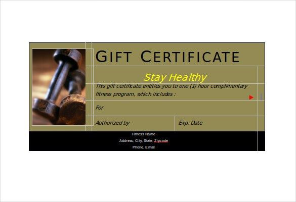 Fitness gift certificate template 36 free gift certificate fitness gift certificate template jobsllybullock yadclub Image collections