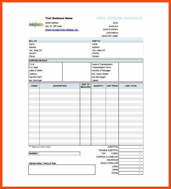 proforma invoice sample | program format