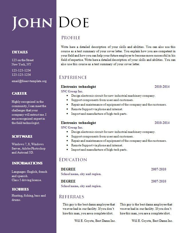 Resume Template Doc Download Free | calendar doc