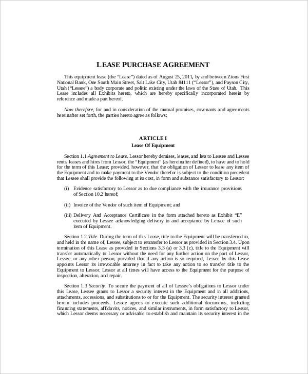 Equipment Lease Template - 8+ Free Word, PDF Documents Download ...