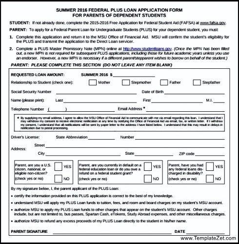 Sample Parent Plus Loan Application Form | TemplateZet