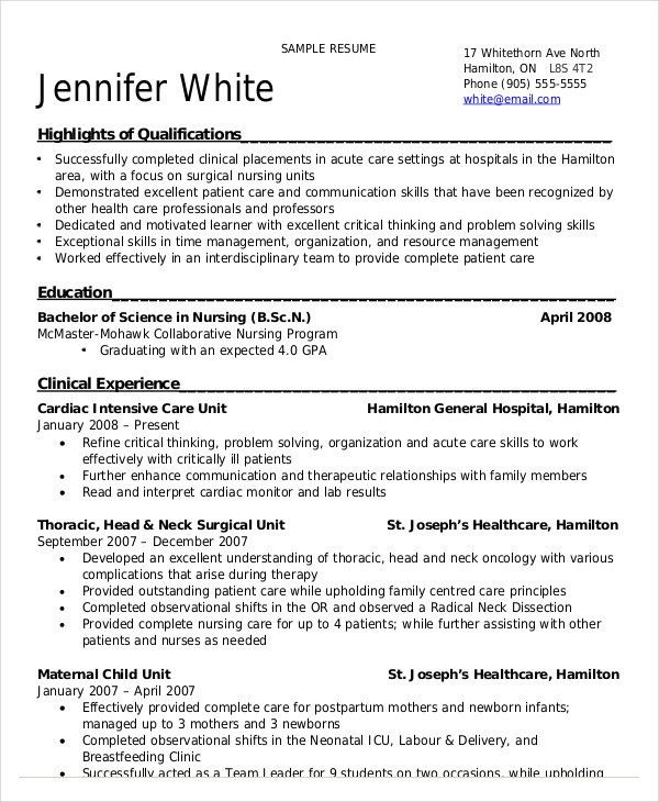 Nursing Student Resume Example - 9+ Free Word, PDF Documents ...