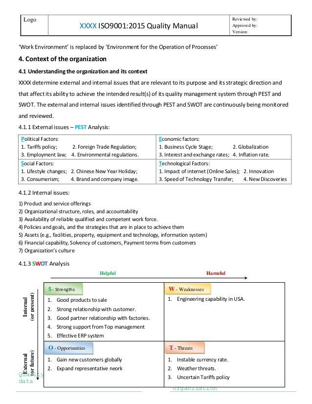 ISO9001 2015 Quality Manual template