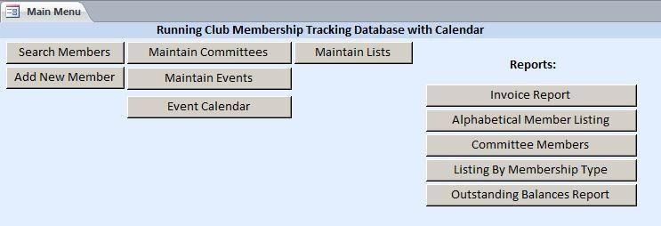 Running Club Membership Tracking Database with Calendar Template