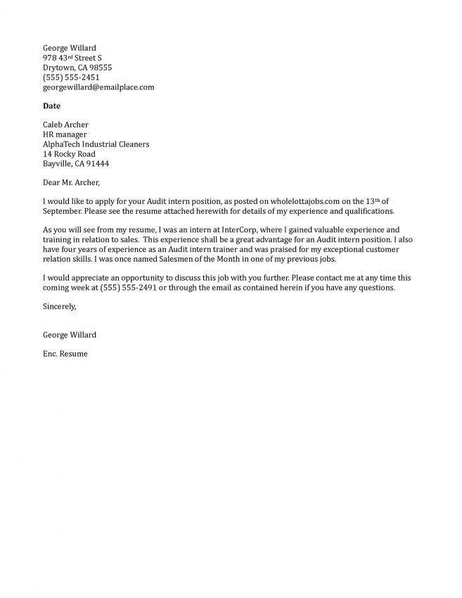 11 Best Internship Cover Letters Cover Letter cover letter for ...