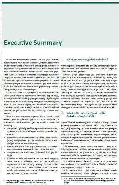 3d Emissions Gap Report Executive Summary | capacity4dev.eu
