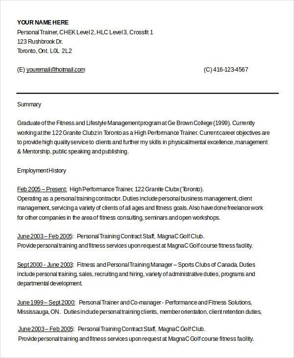 contract trainer resume sample personal trainer resume 9 examples
