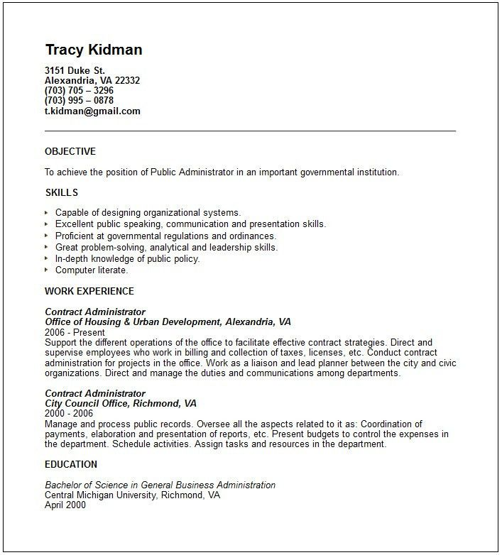 Public administrator Resume Example - Free templates collection