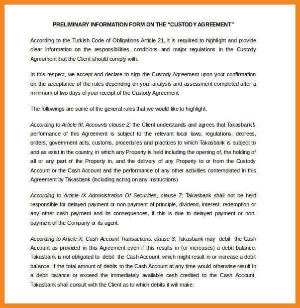 louisiana temporary custody. free single parent custody agreement ...