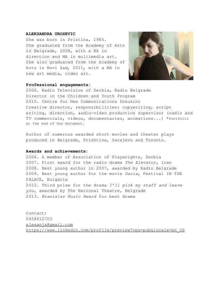 ALEKSANDRA UROSEVIC, copywriter CV&portfolio, eng