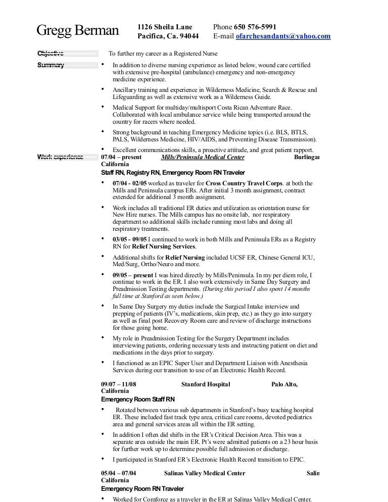 Nurse Resume and Life Info
