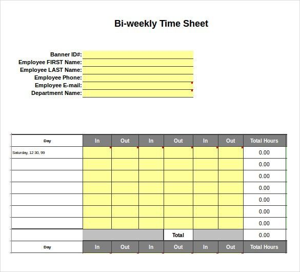 10+ Excel Timesheet Templates – Free Sample, Example Format ...