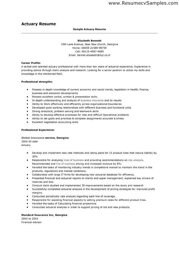 Resume Examples. 10 best of actuary resume template: Actuary ...