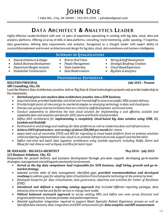 Data Architect Resume Example - Data Analytics IT Consultant
